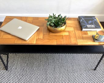 Parquet Coffee Table With Shelf, Industrial Coffee Table, Reclaimed Oak Herringbone Parquet Table, Steel and Wood, Custom sizes available