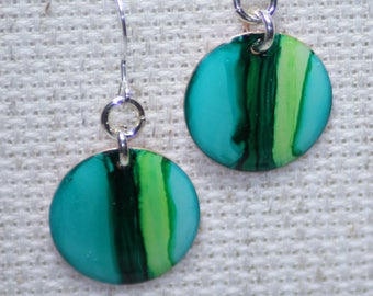 Teal & Lime Green Hand Painted Earrings