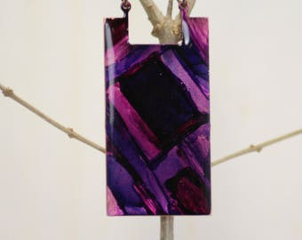 Purple And Pink Hand Painted Necklace