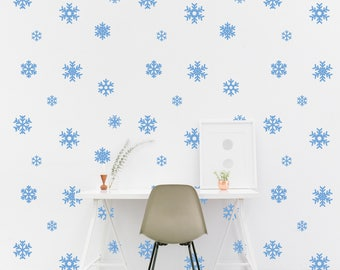 Snowflake Wall Decal Pattern Snow Winter Kids Room Wall Sticker Kids  Bedroom Wallpaper Vinyl Wall Decals
