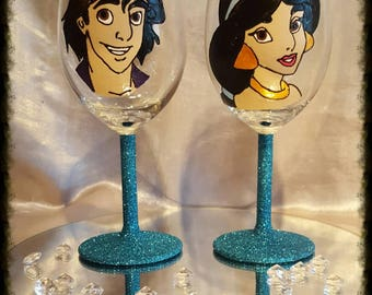 Hand painted Aladdin and jasmine wine glasses