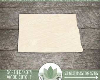 North Dakota Wood Shape,  Unfinished Wood North Dakota Laser Cut Shape, DIY Craft Supply, Many Size Options