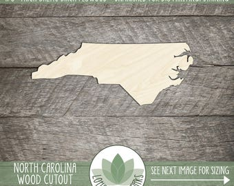 North Carolina, Unfinished Wood North Carolina Laser Cut Shape, DIY Craft Supply, Many Size Options