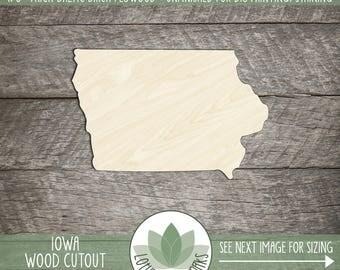 Iowa State Wood Cut Shape Shape, Unfinished Wood Iowa Laser Cut Shape, DIY Craft Supply, Many Size Options