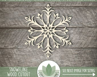 Snowflake Wood Cut Out, Laser Cut Snowflake, Holiday Christmas Tree Ornament, Christmas Table Decor, Winter Wedding Decor