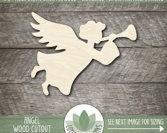 Wood Angel Laser Cut Shape, Wooden Angel Cut Out, Holiday Decoration, Christmas Angel, DIY Crafting Supply, Many Sizes And Shape Options