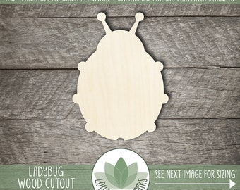 Ladybug Wood Shape, Wooden Ladybug Cutout, Blank Wood Shape, Unfinished Wood For DIY Projects, Laser Cut Wood Shapes, Many Size Options