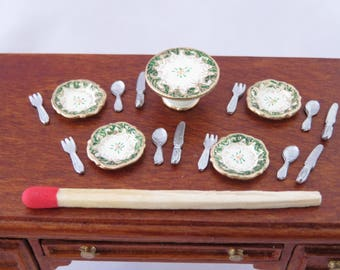 Hand-Painted Dollhouse Miniature 1/24th Scale Table Setting - Dark Green