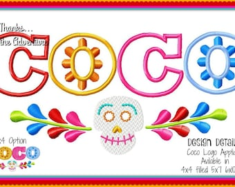 Pixar Coco Dia de Los Meurtos Day of the Dead Sugar Skull Digital Embroidery Machine Applique Design 4x4 filled 5x7 6x10 8x12