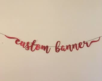 Custom Banner Wall Hanging Decor Party 90th Birthday Decorations Bridal Shower Baby Shower Graduation Quinceanera Holiday Cardstock