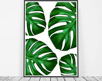 Botanical Print, Tropical Print, Monstera Leaf Art Print, Monstera Print, Monstera Poster, Monstera Wall Art, Botanical Art