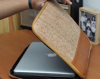 """macbook sleeve 13"""" inch, cork macbook sleeve, laptop sleeve, vegan macbook sleeve, cork macbook case, vegan macbook case, cork laptop case"""