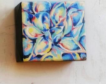 Blue Succulent Original Oil Painting on Mini 3D Canvas
