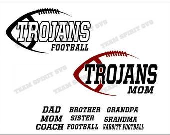 Trojans Side Football Mom Download Files - SVG, DXF, EPS, Silhouette Studio, Vinyl Files, Digital Cut Files - Use with Cricut and Silhouette