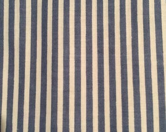 Blue and White 1/4 inch Cotton Stripe