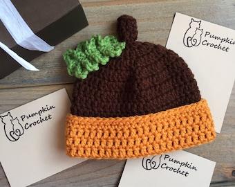 Newborn hat, newborn acorn hat, acorn hat, crochet acorn hat, crochet newborn acorn hat, crochet newborn hat, crochet hat, fall hat, newborn