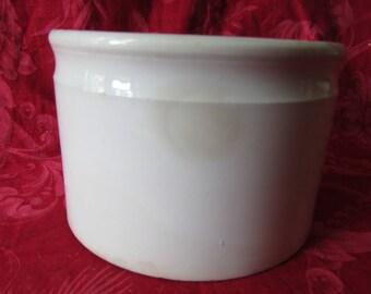 Large antique French Creil et Montereau white porcelain preserve primitive jelly crock pot c1884