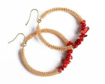 Coral hoop earrings, gemstone earrings, gold, red, hoops, beaded, dangle earrings, large, wire crochet jewelry, boho, stone hoop earrings