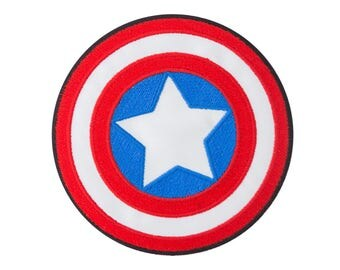 Captain America Iron On Applique, Genuine Marvel Iron On Patch, Shield Patch, Superhero Patch, Kids Patch, Embroidered Patch (300950-3.5)