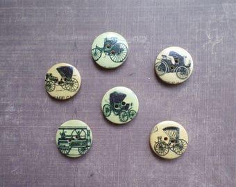 25 buttons round wood Vintage vehicle 2 cm black pattern