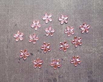 Lot 50 rhinestones form flower 1.1 cm Rose