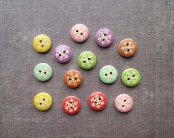40 buttons design winter wood Snowflake of snow multicolor 1.5 cm