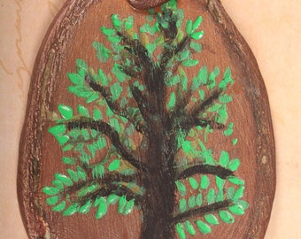 Large brown tree polymer clay pendant