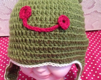 warm and funny frog hat for child