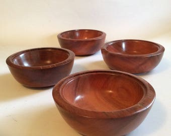 Set of four turned wooden bowls, handmade from recycled Australian hardwood timber