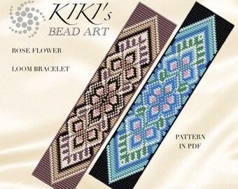 Bead loom pattern - Rose flowers LOOM bracelet pattern in PDF - instant download