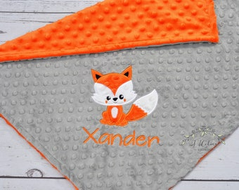 Fox Baby Blanket-Personalized baby blanket-Fox Woodland Minky Baby Blanket Personalized-Boy Girl Fox Blanket-Woodland Fox Nursery Blanket