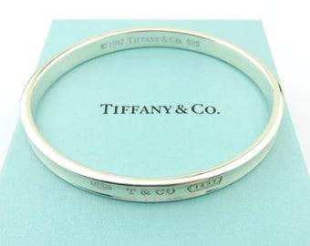 Authentic TIFFANY & CO Sterling Silver 1837 Bangle Bracelet