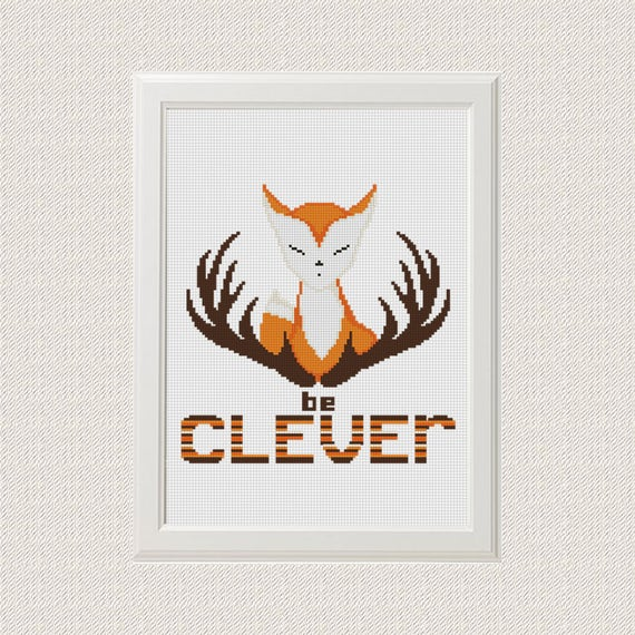 Clever Fox: Be Clever Fox Cross Stitch Pattern Baby Woodland Animals
