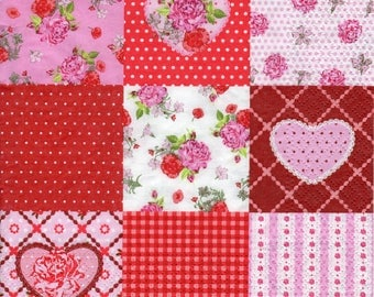 Decoupage Paper Napkins Love Rosy Heart Hearts Love (1x Napkin) - ideal for Decoupage, Collage, Mixed Media, Crafts