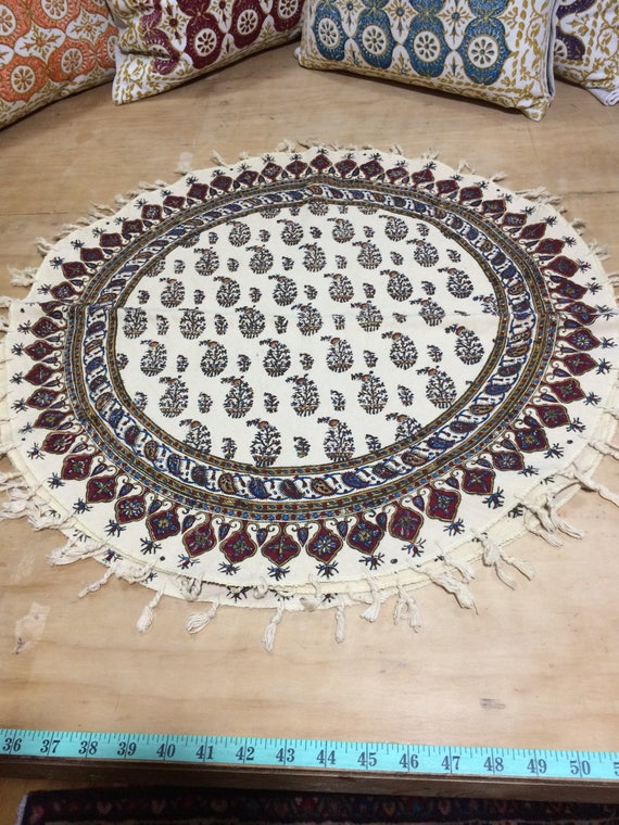 """Hand printed 24"""" round tablecloth, traditional paisley table top with natural dyes and tassels"""