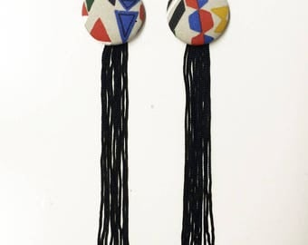 Earrings with geometric designs red/blue/white/green/Yellow