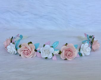 Pink, Blue and White flower Crown, Baby Flower crown, Baby Flower Halo, Flower Girl Crown, Flower Girl Halo