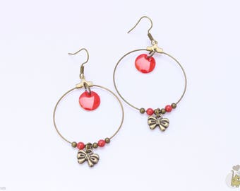 Bronze Earrings: 4 cm Creole and Red sequins