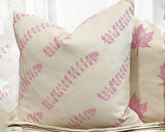 Valentine gift pink and cream ORGANIC cotton canvas pillow throw pillow gift for her pink gift idea pretty pillow girls room feminine decor