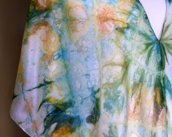Flower Garden Agate - Hand Painted Silk Top/Beach Cover Up