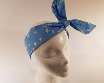Wired Headband / hairband / blue with white and gray