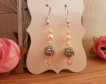 Antique Rose and Pearl drop/ dangle earrings on Sterling silver