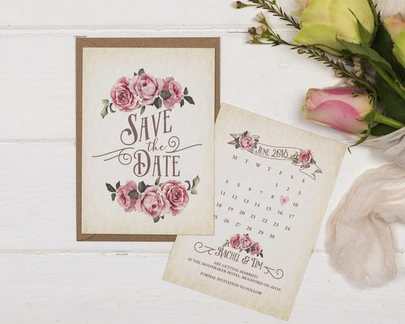 Rustic Ivory Wedding Save The Date Card Sample