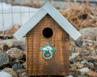Vintage Birdhouse with metal roof and recycled materials