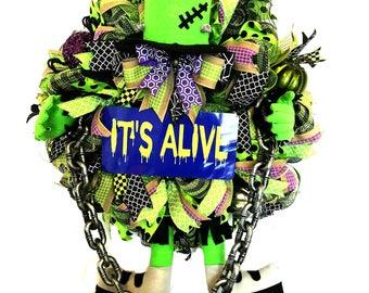 Deco Mesh Frankenstein Wreath, Frankenstein Wreath, Halloween Wreath, Halloween Door Wreath, Halloween Monster Wreath, Frankenstein Decor
