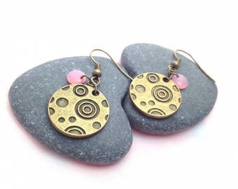 Earrings pink swirl - Bronze