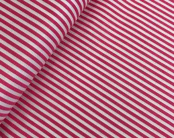 """End of Bolt, 1/8"""" Hot Pink and White Stripes from Riley Blake, Binding fabric, Striped Fabric, Hot Pink Stripes, Candy Stripes 11""""x44"""""""