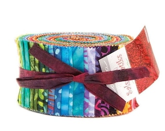 "Sale Sala Batik Jelly Roll from Moda Fabrics, 40 2.5""x44"" Strips, Batik Fabric"