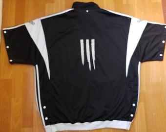 ADIDAS jersey, vintage t-shirt of 90s hip-hop clothing, 1990s hip hop shirt, OG, gangsta rap, black old school basketball tank, size L Large