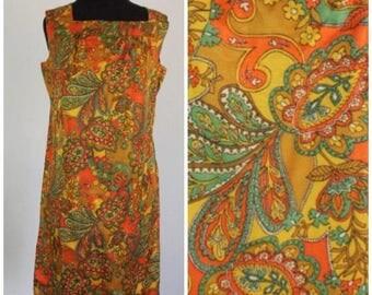 Summer Start Sale Vintage 1960s Paisley Shift Dress - 60s Psychedelic Mod Sundress - Size Medium, Large, M, L